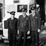 Ron Last, L/A Bert Burgess and Sam Ganderton. Middlesex Ambulance Service 1956.
